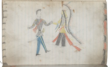Little Skunk Drawing of Peace Treaty with U.S. soliders and their Indian Allies Before 1879