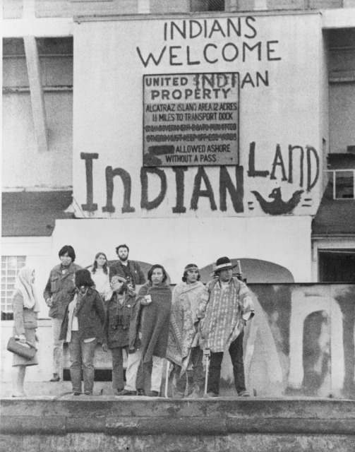 Members of the Indians of All Tribes group, occupying the former prison at Alcatraz Island, 1969