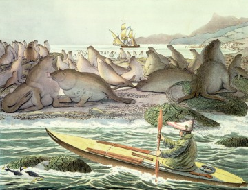 Drawing of Unangan kayak by Louis Choris