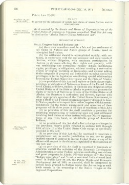 An act to provide for the settlement of certain land claims of Alaska Natives, and for other purpose