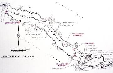 Map of nuclear test sites, Amchitka Island