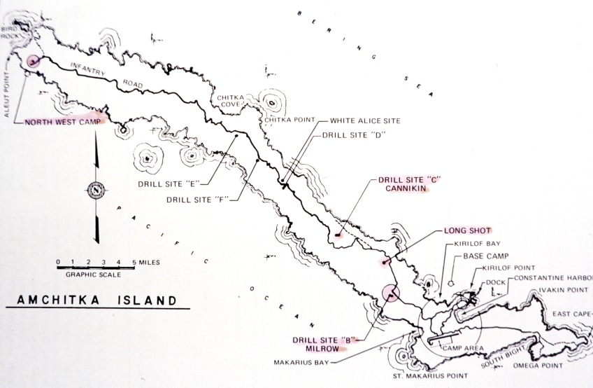 Map Of Nuclear Test Sites Amchitka Island Enlarge Map Of Nuclear Test Sites
