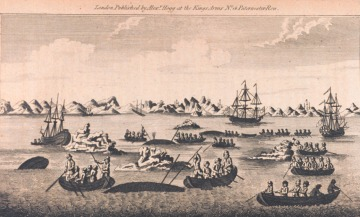 Print of whale fishing