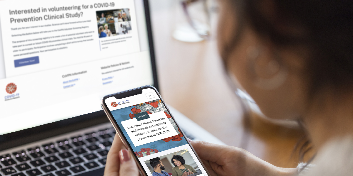 Woman views image of the NIH COVID-19 Prevention Network website on desktop and mobile
