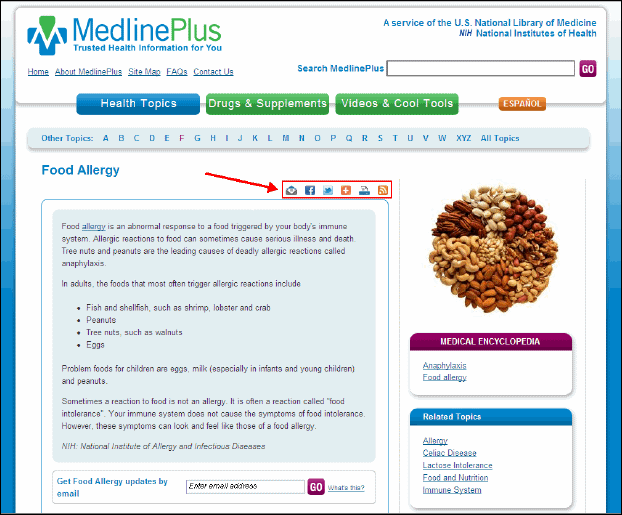 Screen capture of MedlinePlus health topic page showing RSS feed icon and AddThis enhancements