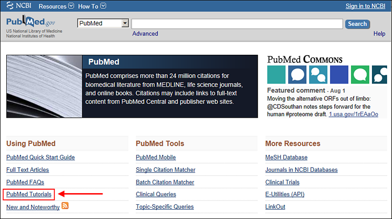 Screen capture of the PubMed homepage with the link to the PubMed Tutorials highlighted