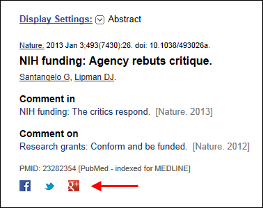 Screen capture of the PubMed Abstract Display with social media icons for Facebook, Twitter, and Google+.