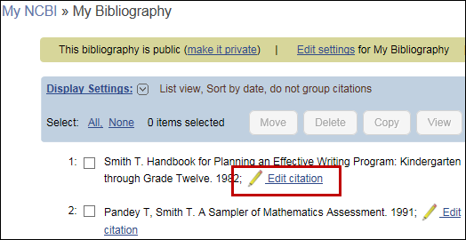 screen shot of Uploaded citations from ERIC listed in My Bibliography.