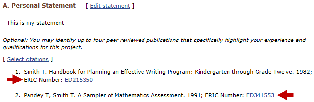 screen shot of SciENcv Personal Statement section.