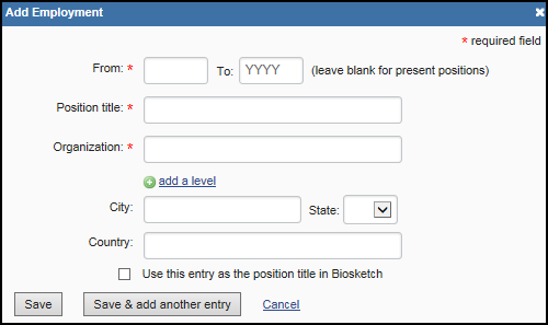 screen shot of Add employment form.