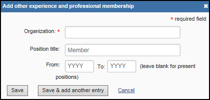 screen shot of Add other experience and professional membership form.