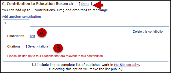 screen shot of Contribution to Education Research section