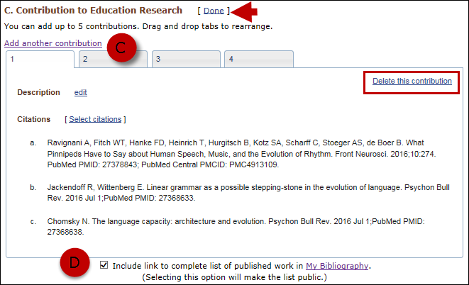 screen shot of Add contribution tabs and select to include a link to My Bibliography collection