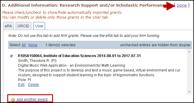 screen shot of Research Support/Scholastic Performance section