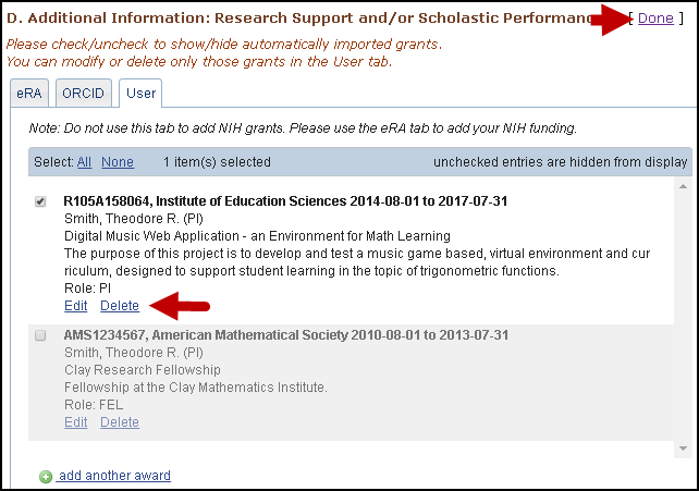 screen shot of Delete/edit or hide/display entries in Research Support/Scholastic Performance