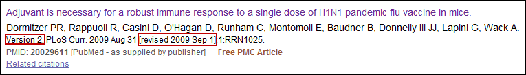 Screen capture of PubMed Summary Display of a Versioned Citation.