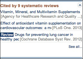 Screen capture of the Cited by systematic reviews portlet