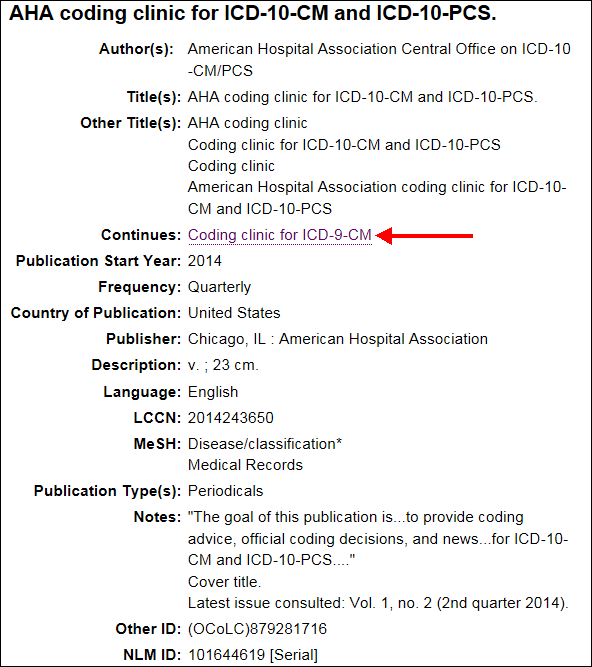 Select the title in the Continues field of the NLM Catalog.