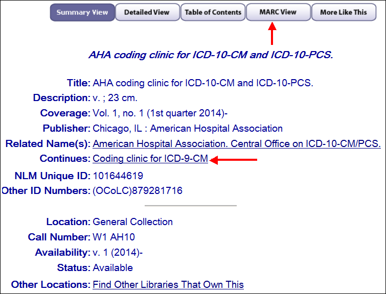 Select the MARC View tab to find the NLM UI to search for the related title in LocatorPlus.