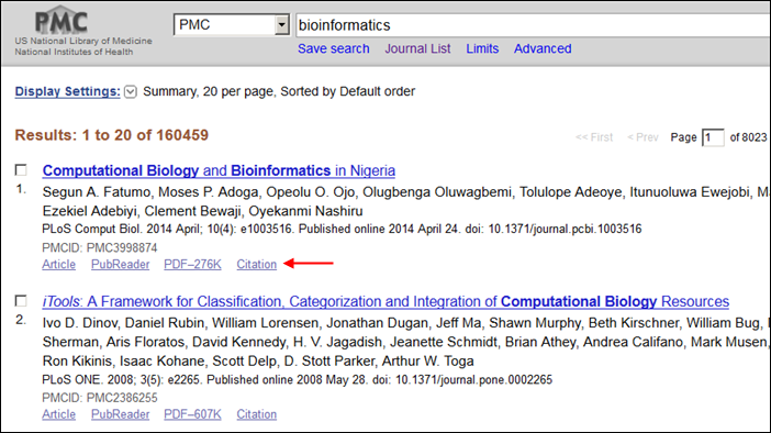 "PMC Search Results include a ""Citation"" link."
