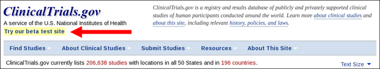 Link to beta testing from ClinicalTrials.gov homepage.