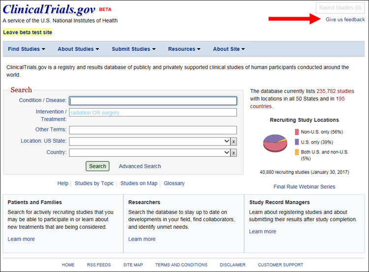 Give Us Feedback link on ClinicalTrials.gov beta site.