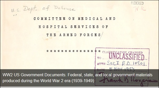 screen shot of a World War 2 US Government Document in the NLM Digital Collections