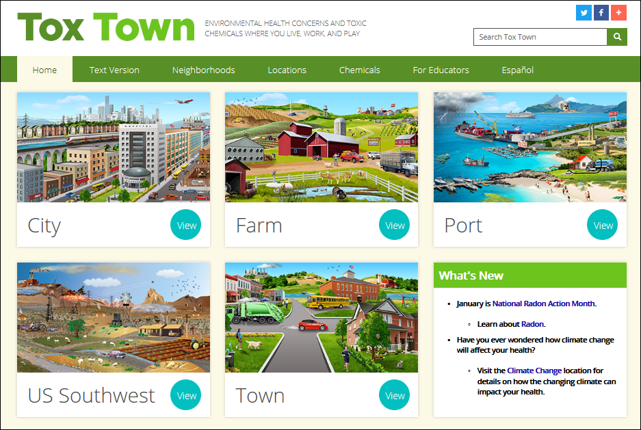 screen shot of Tox Town homepage