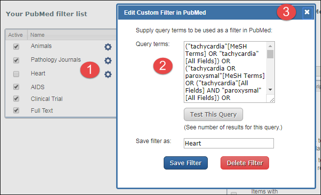 Copy your search terms to create a My NCBI saved search.