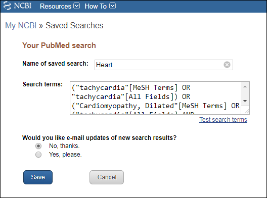 Configure your saved search.