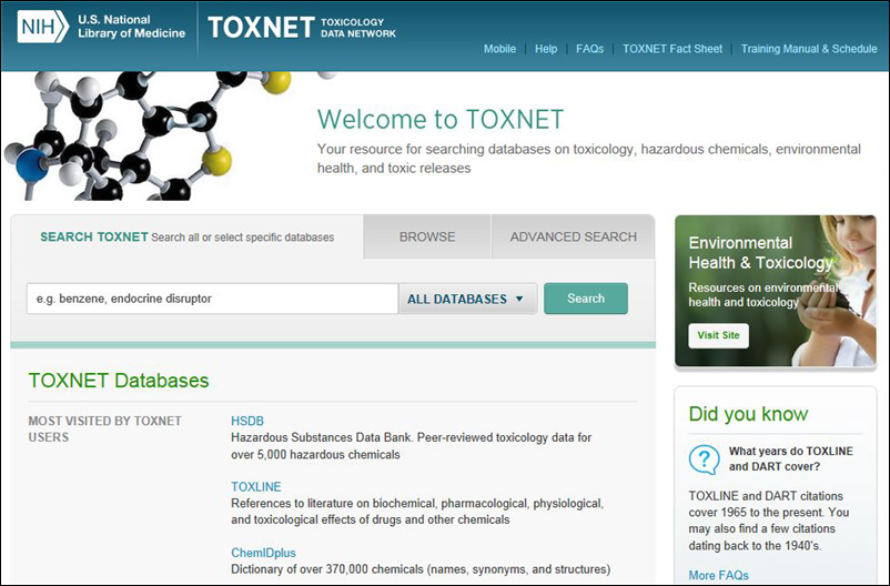 Screen capture of toxnet preview.