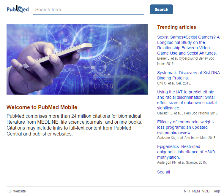 PubMed Mobile homepage with Trending articles