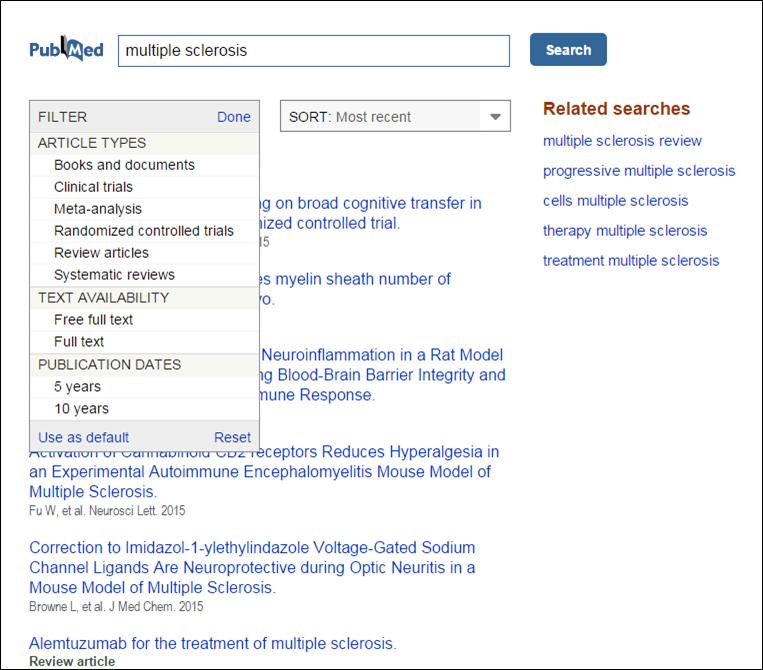 PubMed Mobile results page with filter selections displayed.