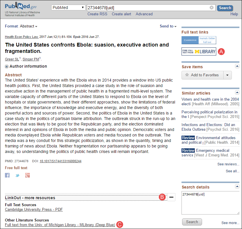 PubMed abstract display with the University of Michigan's Institutional Repository icon.