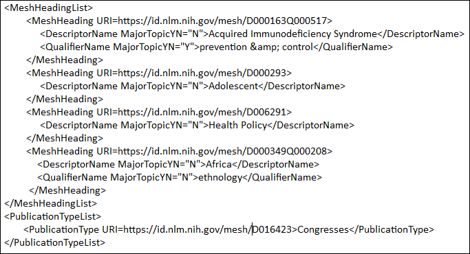 NLM Catalog XML view.