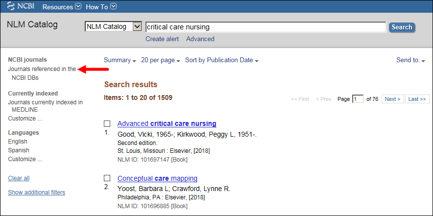 Sidebar filter display highlighting Journals referenced in the NCBI DBs