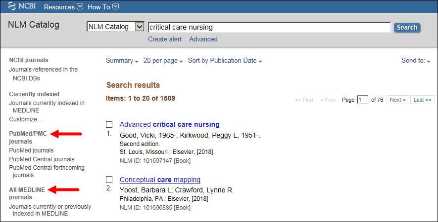Sidebar filter display highlighting PubMed/PMC journals and All MEDLINE journals