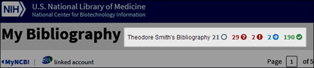 "At the top of the page to the right of ""My Bibliography"", icons show at a glance how many articles are in which status"