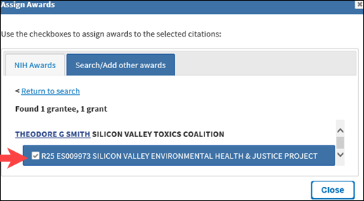 After selecting a grant, the names of grantees will be shown