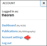 When you click on your username in the upper right, options are listed including Account settings