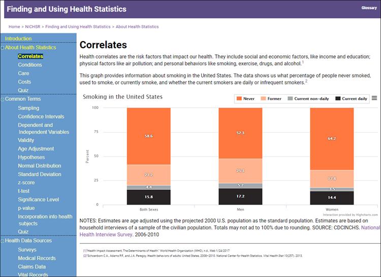 Screenshot of health statistics tutorial