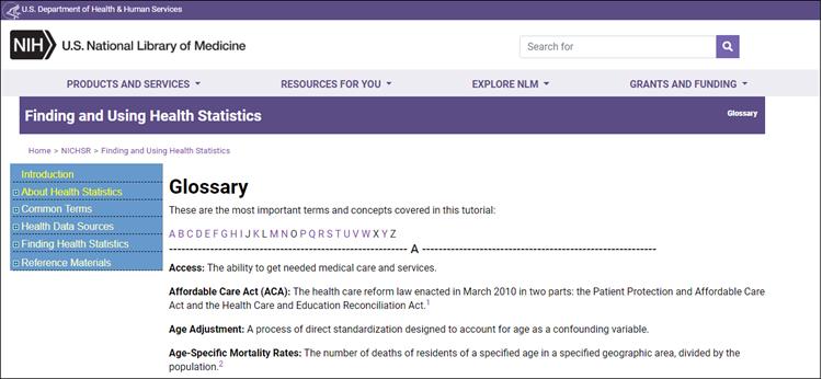 Screenshot of glossary