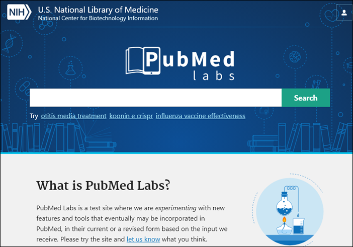 screenshot of PubMed Labs homepage.