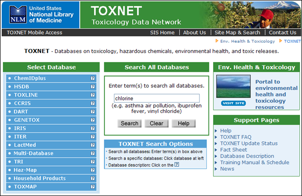 Screen capture of TOXNET homepage with Search All Databases feature.
