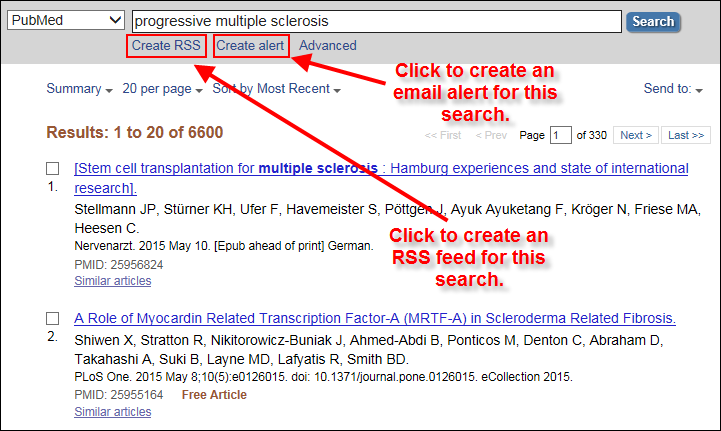 screen shot of PubMed Summary Display