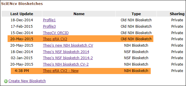 screen shot of Old and new NIH Biosketches stored in SciENcv