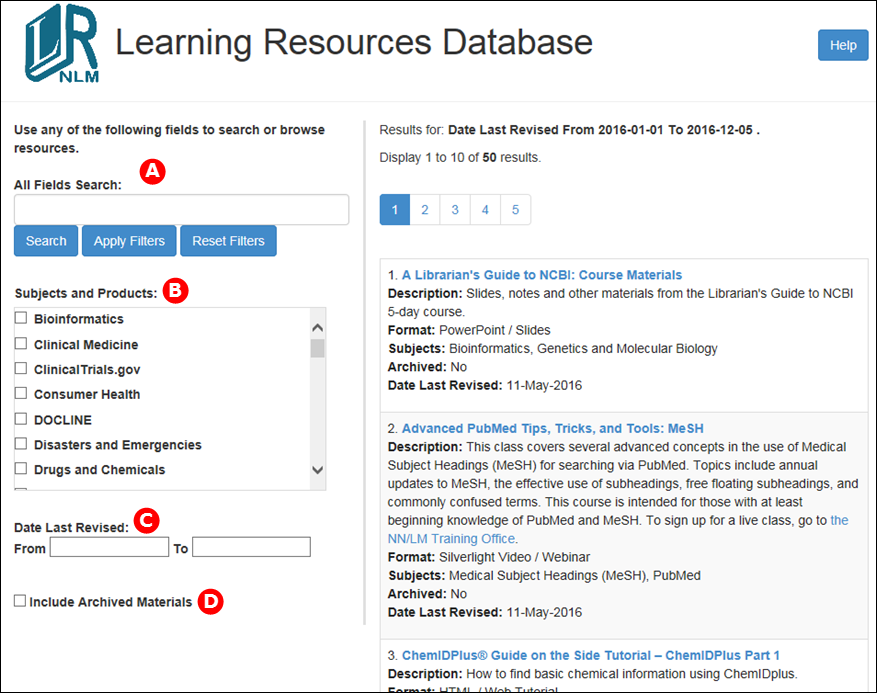 Learning Resources Database homepage.