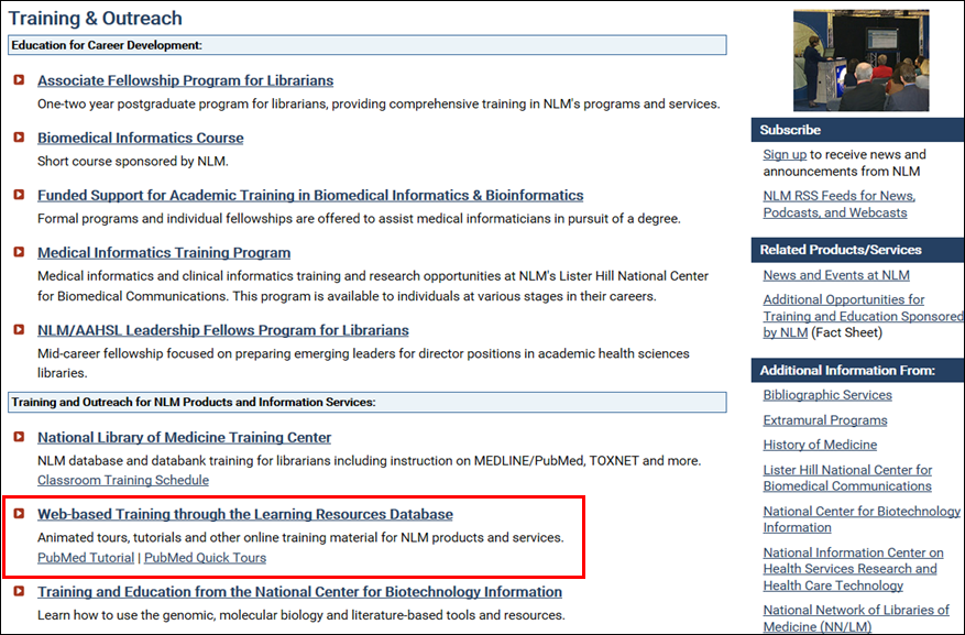 NLM Learning Resources accessed from the Training and Outreach Web page.