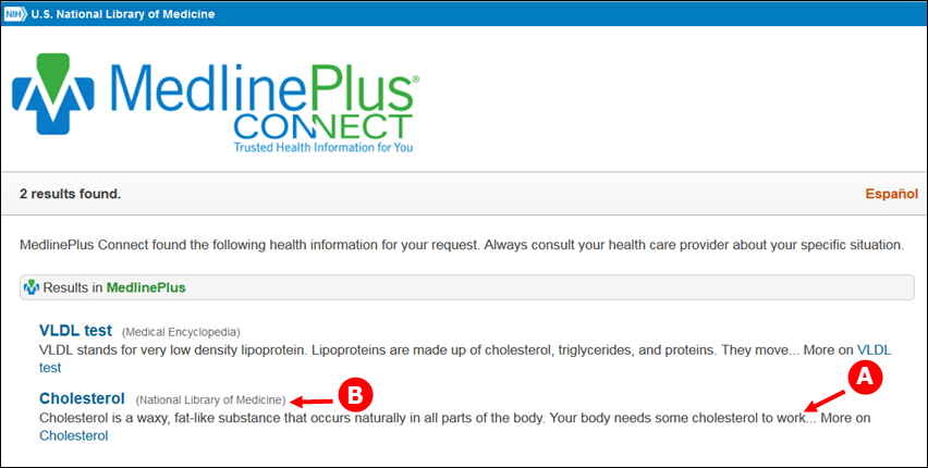 New LOINC response on MedlinePlus Connect