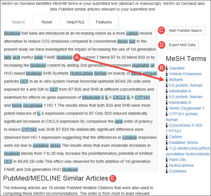 MeSH on Demand results page with text words that correspond to MeSH terms highlighted